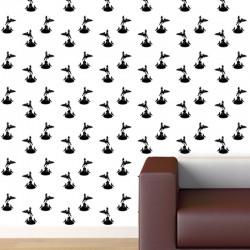 Eros Black on White Wallpaper