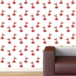 Eros Red on White Wallpaper