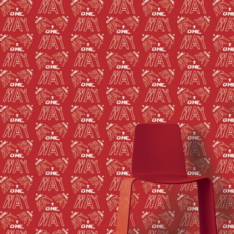One Way White on Red Wallpaper