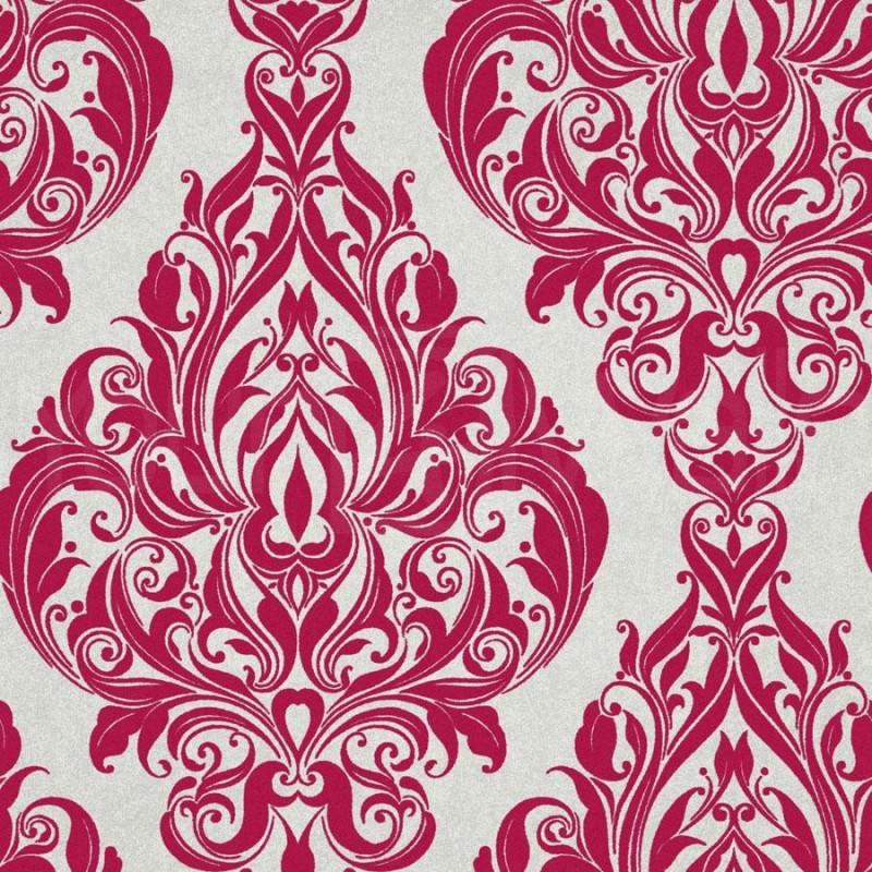Kinky Vintage Red Pink Damask Flock Wallpaper 50 221