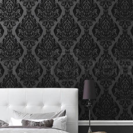 Kinky Vintage Black Flock Wallpaper, 50-223