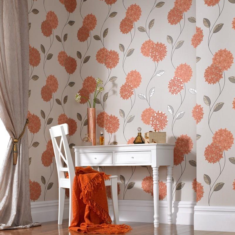 Orange Cream Wallpaper, Floral Wallpaper, Pippa Wallpaper