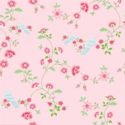 Bird Branches Pink Wallpaper
