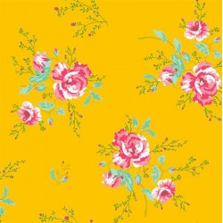 Winter Poppies Yellow Floral Wallpaper
