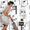 50s Housewives Full-Scale Wallpaper