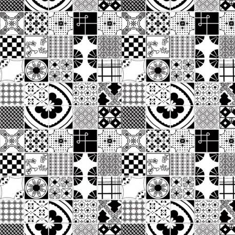 Mixed Tiles Mono Wallpaper