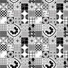 Mixed Tiles Mono Wallpaper