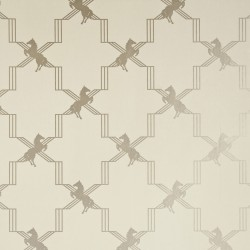 Horse Trellis Metallic Stone Wallpaper