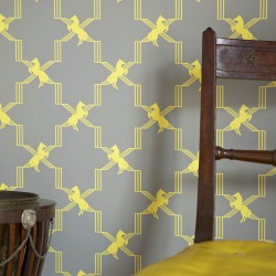 Horse Trellis Yellow on Grey Wallpaper