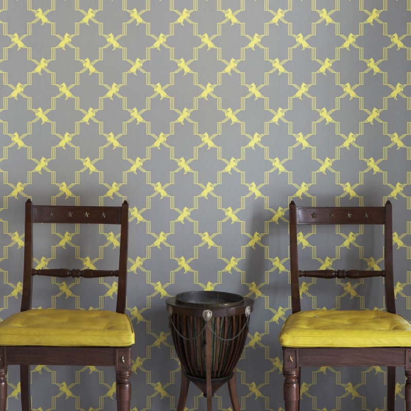 horse trellis grey wallpaper grey wallpaper wallpaper online. Black Bedroom Furniture Sets. Home Design Ideas