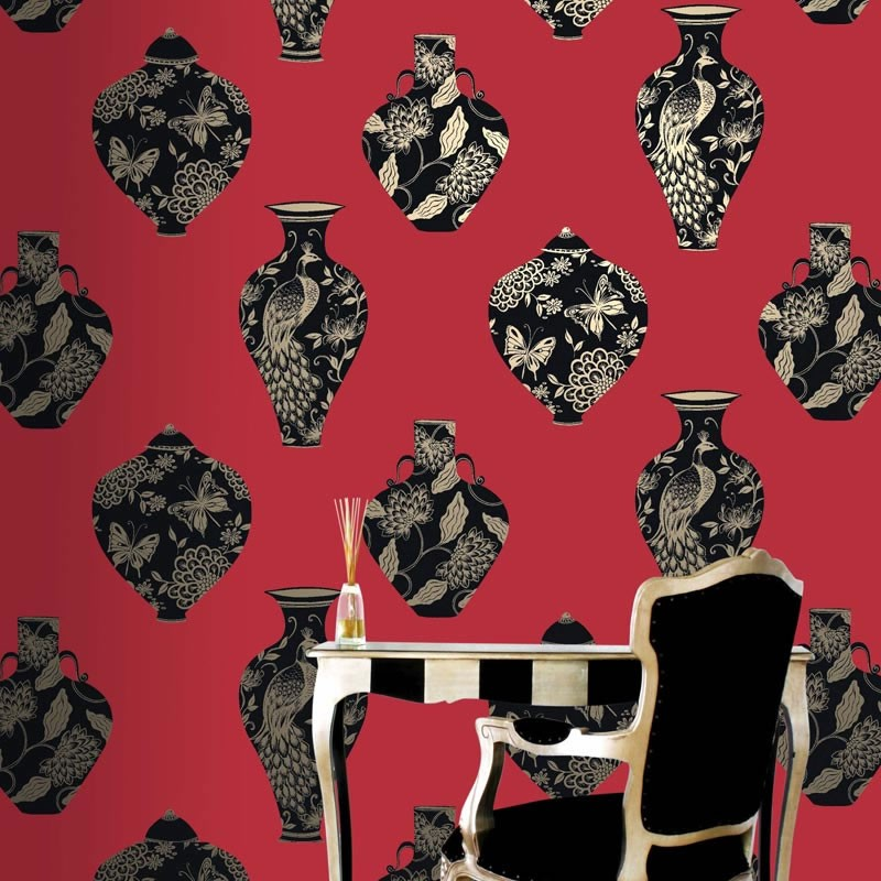 Bedford Square Scarlet Wallpaper, Red Wallpaper, Bloomsbury Wallpaper
