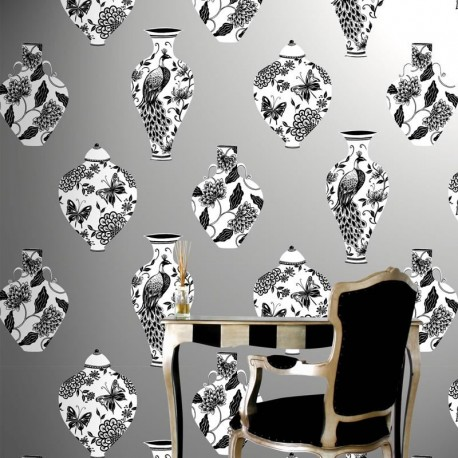 Bedford Square Palladium Silver Wallpaper