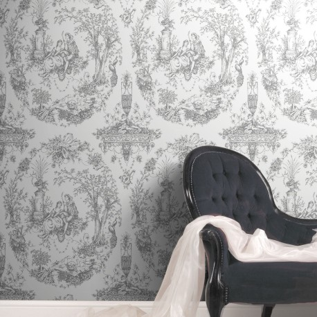 Arcadia Crystalline Silver & White Wallpaper
