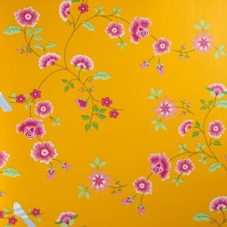 Bird Branches Yellow Wallpaper