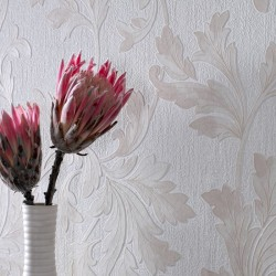 Acanthus White & Beige Wallpaper