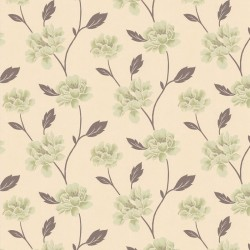Peony Green & Cream Wallpaper