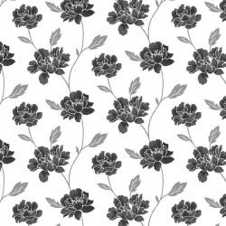 Peony Black & White Wallpaper