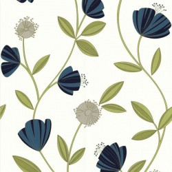 Capri Blue & Cream Wallpaper