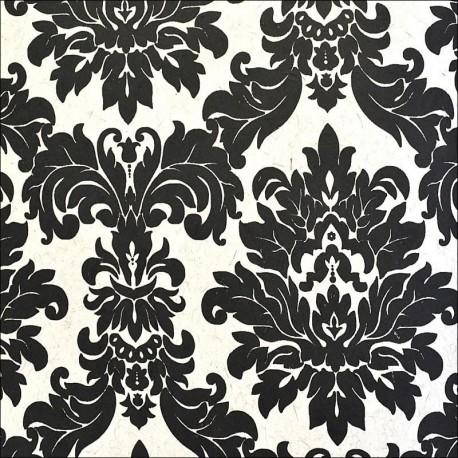 Versalles Black on White Wallpaper