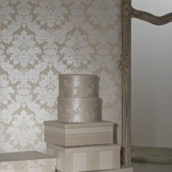 Versalles Cream Silver Ivory Damask