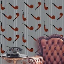 Pipe Red on Light Grey Funky Wallpaper