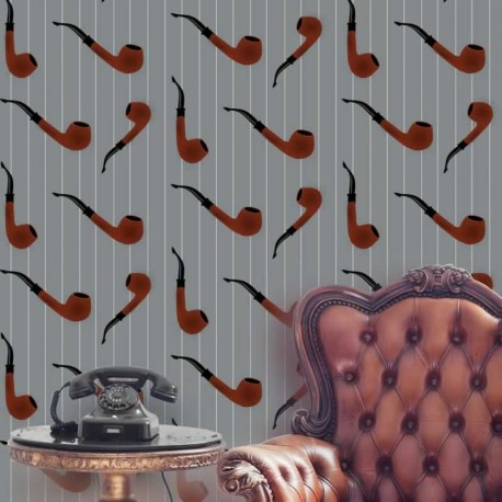 Pipe Red on Light Grey Wallpaper