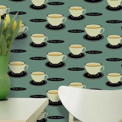 Tea Time Green Wallpaper