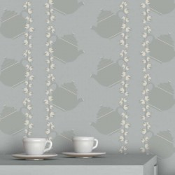 Floral Teapot Stone Grey Wallpaper