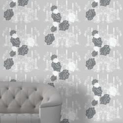 Rosey Glow Dark Grey Wallpaper