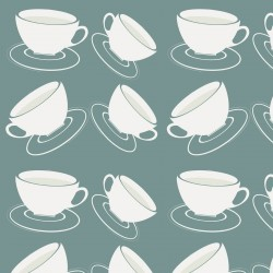 Cuppa Blue-Grey Wallpaper