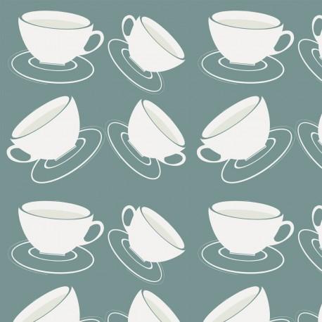Cuppa Blue-Grey Wallpaper