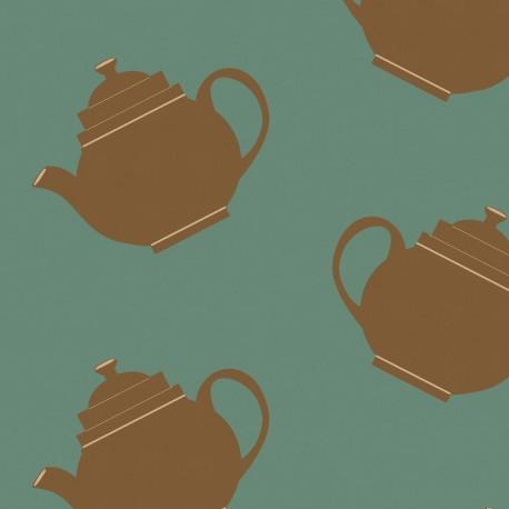 Teapot Crazy Green Wallpaper