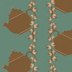 Floral Teapot Green Wallpaper