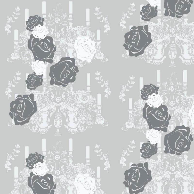 Rosey Glow Dark Grey Wallpaper Grey Wallpaper Designer Wallpaper