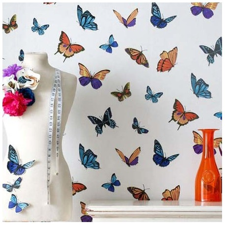 Flutterby White Wallpaper