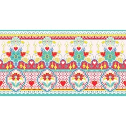 Lace Yellow & Red Border