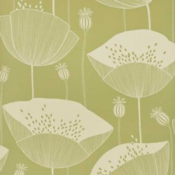 Poppy Cottage Green Wallpaper