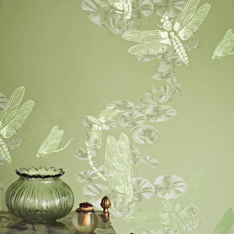 Dragonfly Apple Green Wallpaper Barneby Gates Wallpaper