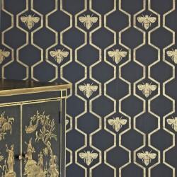 Honey Bees Charcoal Wallpaper