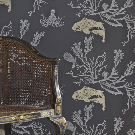 Coral Charcoal Wallpaper
