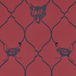 Fox & Hen Red Wallpaper