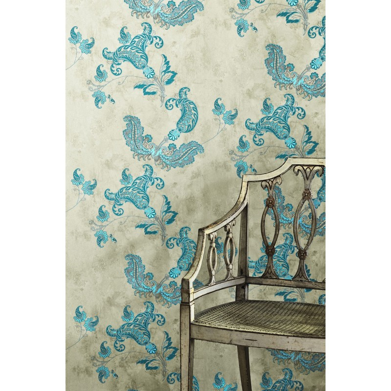 Paisley Turquoise Wallpaper Barneby Gates Wallpaper