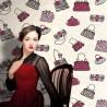 Tiffany Black on Cream Wallpaper
