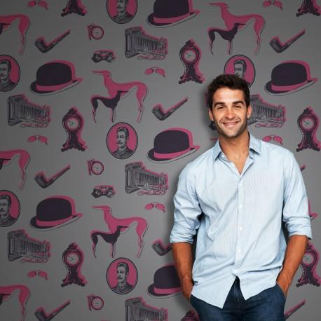 Bertie Black, Pink on Grey Wallpaper