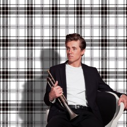 Brodie Black Flock and White Tartan Check
