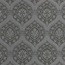 Otoman Silver and Black Damask Wallpaper