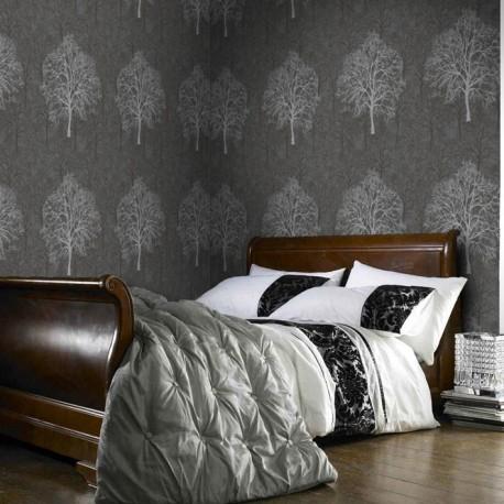 Enchant Black Grey Wallpaper